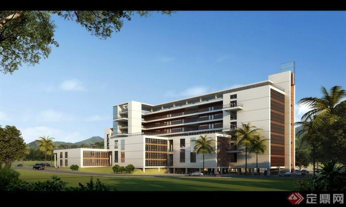 某现代风格办公建筑psd效果图设计