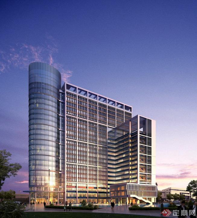 某现代风格商业建筑设计psd效果图