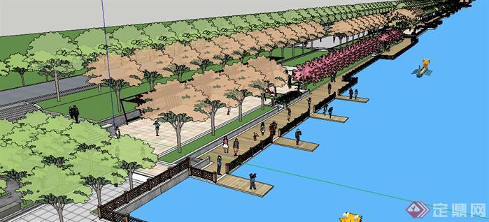 某新中式滨湖公园景观设计方案su模型