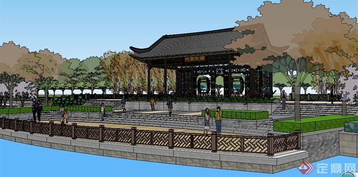 某新中式滨湖公园景观设计方案效果图(2)