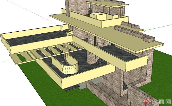 某现代风格流水别墅建筑方案设计su模型