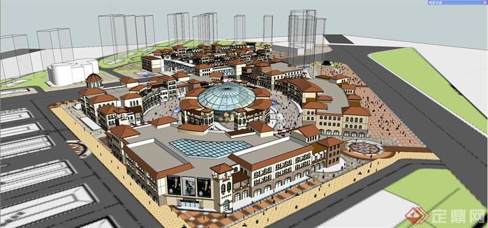 某西班牙风格商业广场建筑设计方案SU模型