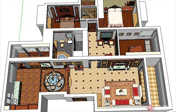 某欧式风格室内方案设计su模型[原创]