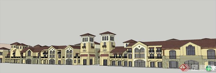 某地中海风格商业街建筑设计方案su模型图片