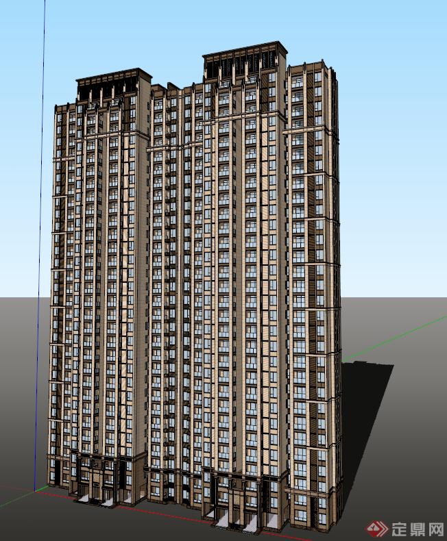 某簡歐高層住宅建筑設計方案su模型[原創]