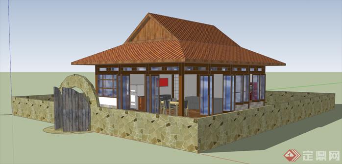 某日式小木屋建筑设计su模型[原创]