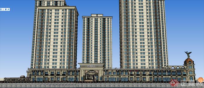 某临湖欧式住宅小区建筑设计方案效果图(2)