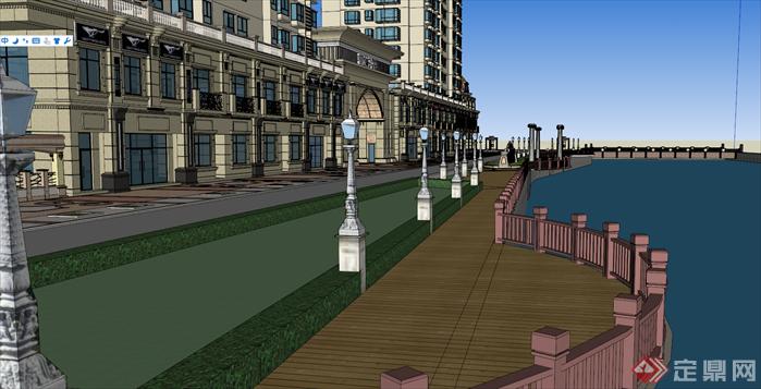 某临湖欧式住宅小区建筑设计方案su模型,该模型设计精细,细节处理得当,材质处理较好,风格是欧陆式风格,是很好的小区建筑设计方案参考作品。