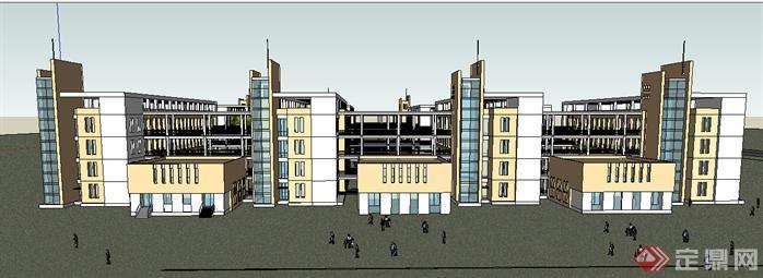某现代中小学校建筑设计方案效果图(3)