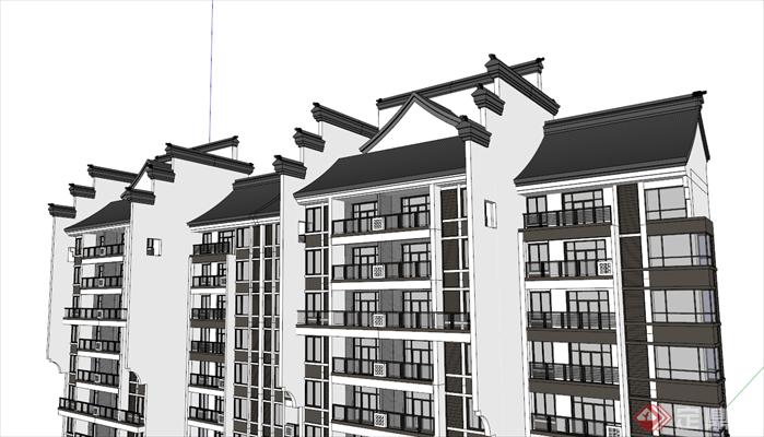 某新中式高层住宅建筑设计su模型[原创]