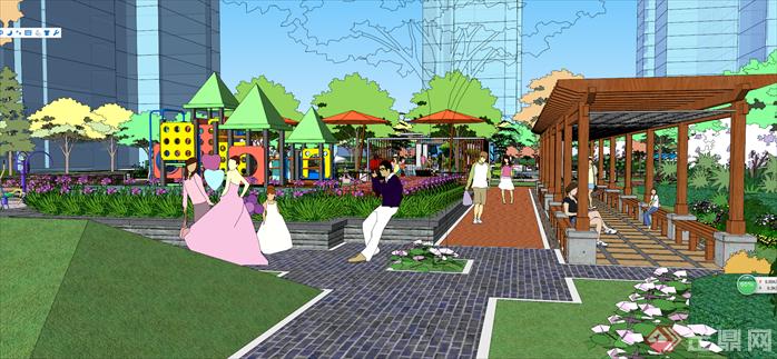 某住宅小区中庭广场景观设计su模型[原创]