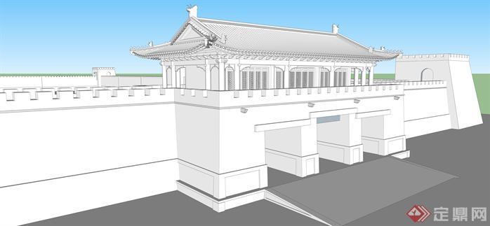 某古城墙建筑设计方案su模型