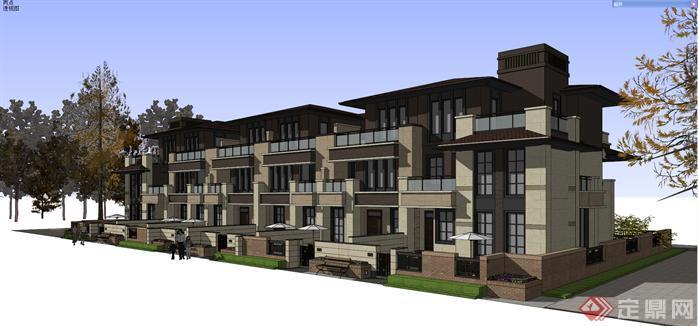 某现代中式草原风联排别墅建筑方案设计su模型