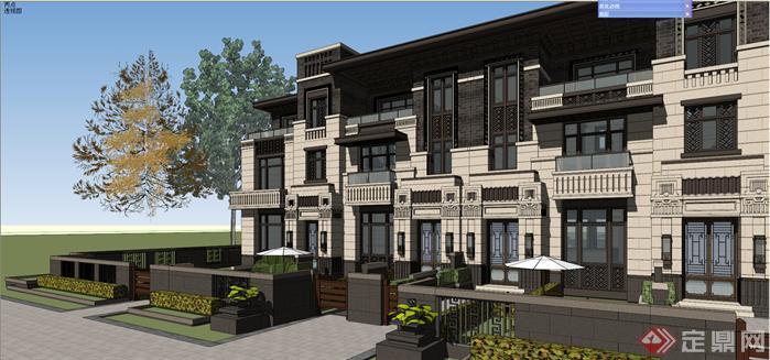 某赖特草原风联排别墅建筑设计su模型1