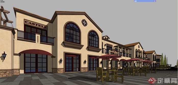 四川某住宅商业街欧式西班牙风格建筑设计方案su模型