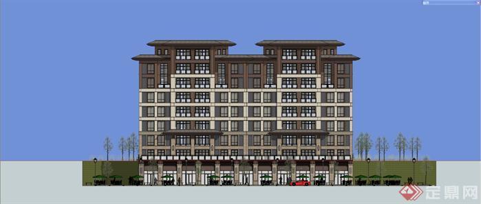 某欧陆式小高层公寓楼建筑设计方案效果图(2)