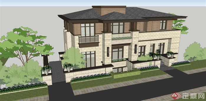 某现代风格草原风独栋别墅建筑设计SU模型(带效果图),该模型设计的还是比较细致的,模型场景还是比较大的,供广大景观设计,园林设计人员参考用途.