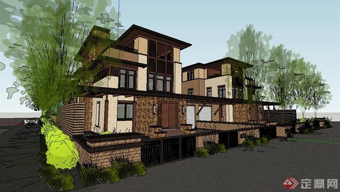 草原风格类独栋别墅建筑方案设计su模型图片