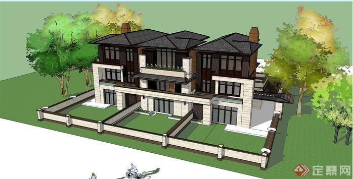 某草原风格三拼联排别墅建筑设计方案效果图(1)