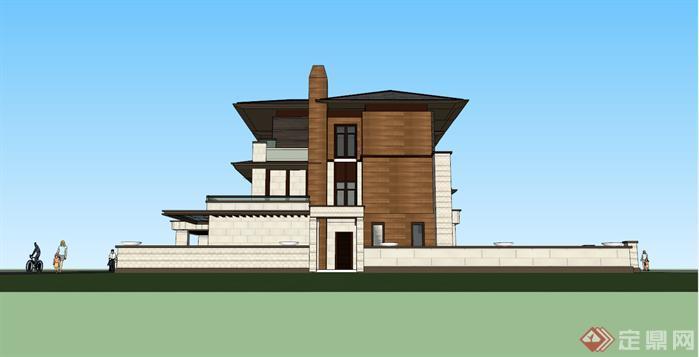 某草原风格三拼联排别墅建筑设计方案SU模型