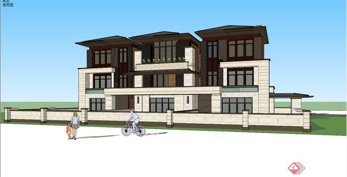 某草原风格三拼联排别墅建筑设计方案效果图(3)