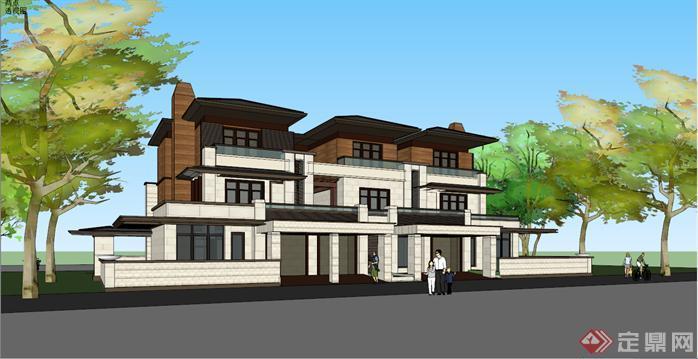 某草原风格三拼联排别墅建筑设计方案效果图(4)