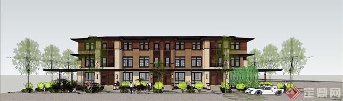 某欧陆式三层联排别墅建筑设计方案效果图(2)