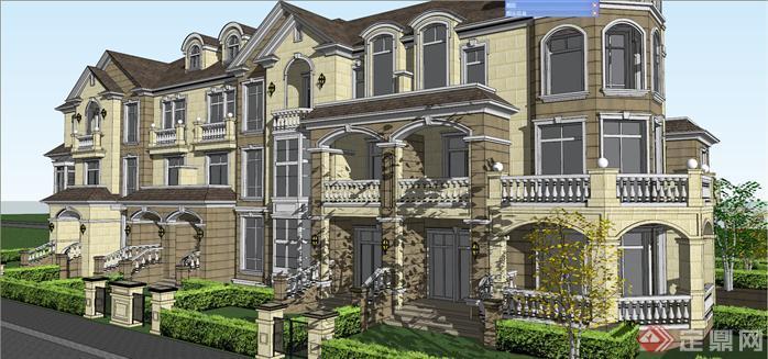 某北美风格五拼别墅建筑设计方案效果图(1)