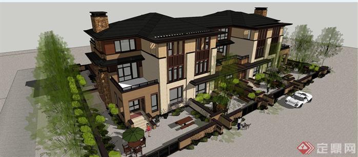 某现代中式风格草原式叠拼别墅建筑方案设计su模型