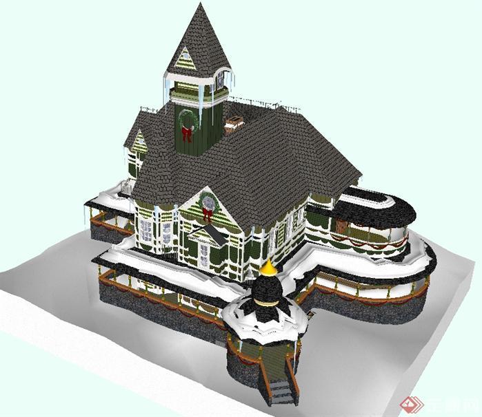 某欧式风格童话城堡建筑方案设计su模型[原创]