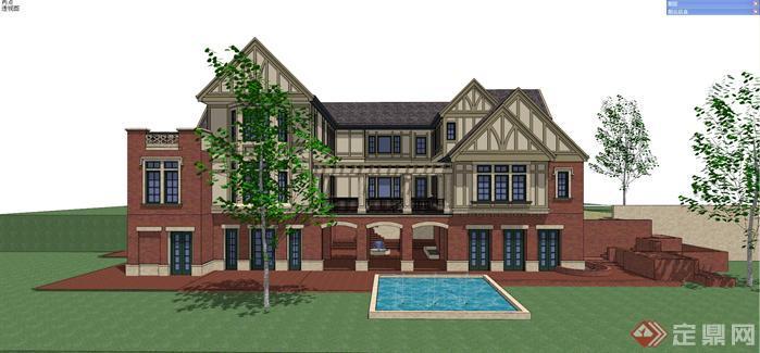 一套欧式风格豪华别墅建筑su设计模型[原创]