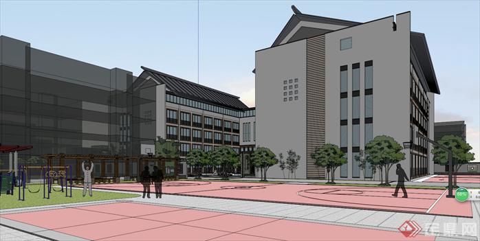 某新中式风格校园建筑设计方案效果图(2)