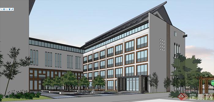 某新中式风格校园建筑设计方案效果图(3)
