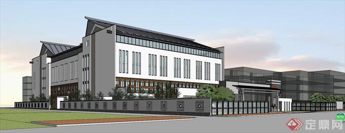 某新中式风格校园建筑设计方案效果图(4)