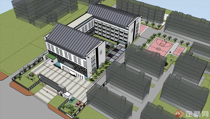 某新中式风格校园建筑设计方案su模型[原创]