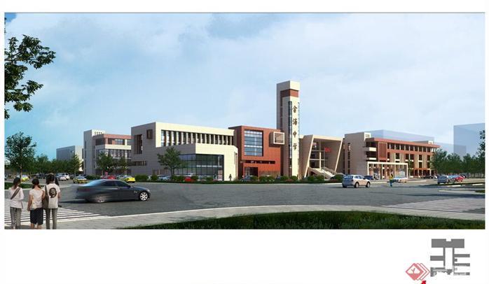某现代风格中学教学楼建筑设计方案SU模型