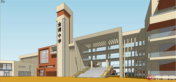 某现代风格中学教学楼建筑设计方案su模型[原创]