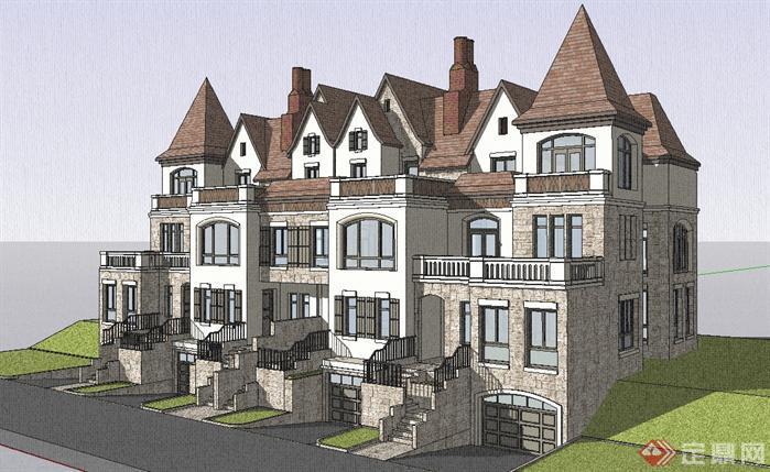 某德式四拼联排别墅建筑设计方案效果图(2)