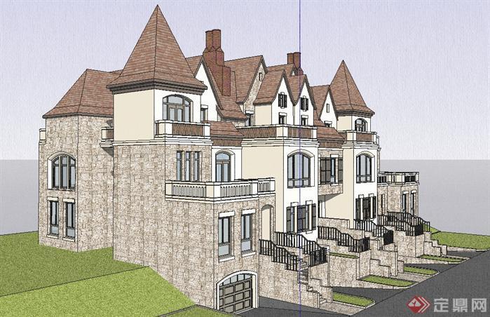某德式四拼联排别墅建筑设计方案效果图(3)
