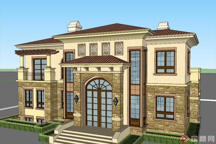 某欧式风格独栋别墅建筑方案设计su模型图片
