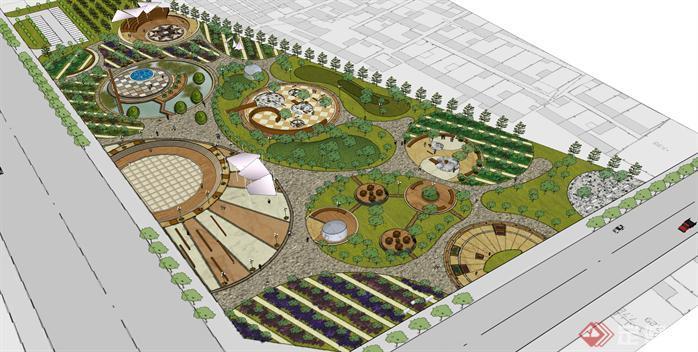 某现代城市广场景观设计方案su模型[原创]