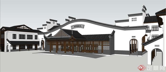 某徽派古镇旅游商品街建筑设计方案效果图(3)