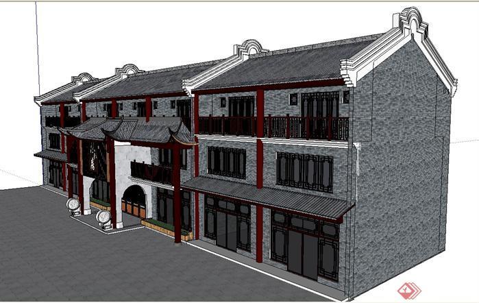 某仿古餐馆建筑设计方案效果图(3)