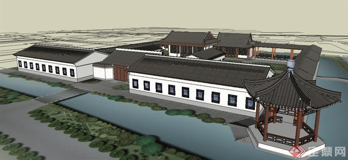 某古典中式书院连廊建筑设计方案su模型[原创]