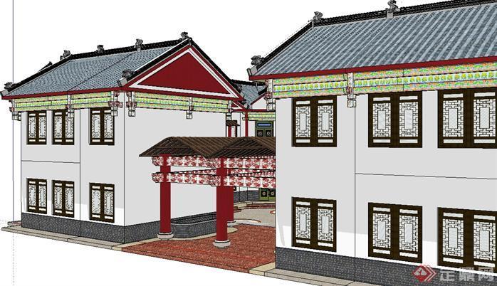 某仿古风格沁荷园景点建筑设计方案效果图(2)