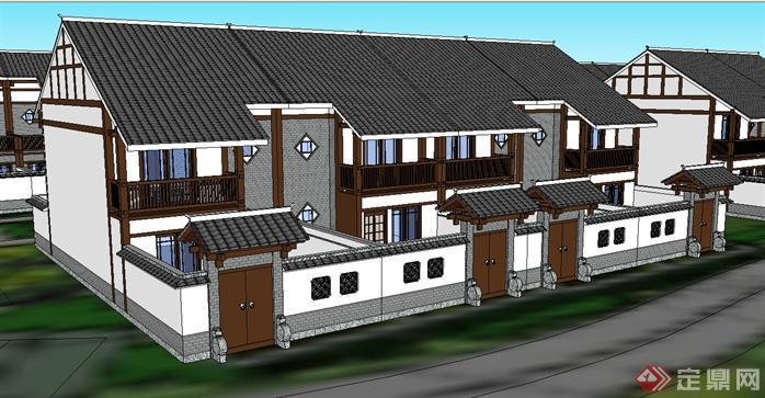 某新中式别墅群建筑设计方案效果图(2)