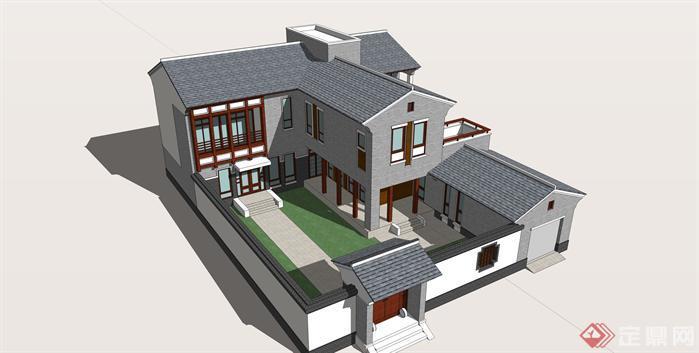 一套古典中式风格民居建筑su设计模型[原创]