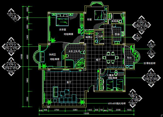 三室两厅一厨一卫一保姆房装饰设计图-约200平(2)