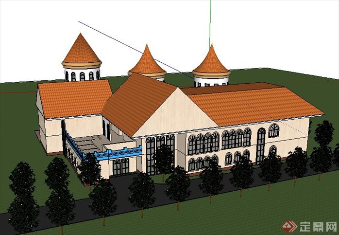 某欧式风格幼儿园建筑方案设计su模型[原创]