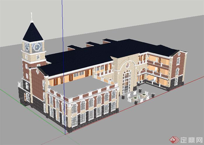 某欧陆式幼儿园建筑设计方案su模型[原创]